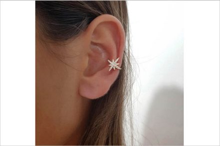 Sterling Silver 925 with CZ Long Star Ear Cuff     イスタンブール・ジュエリー